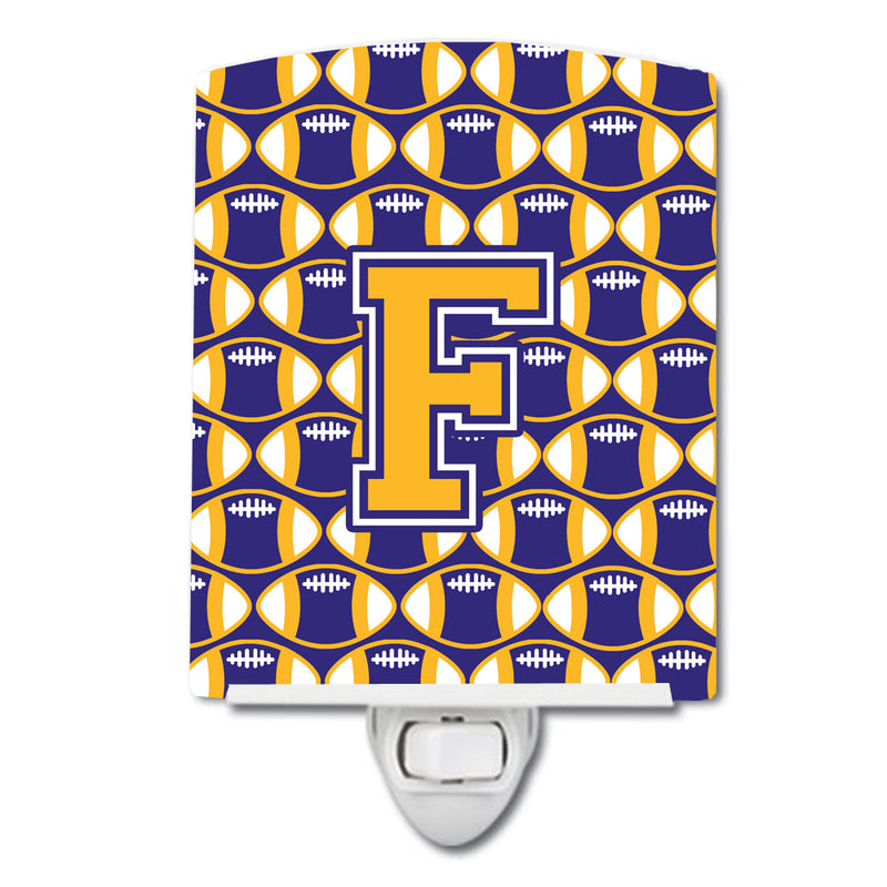 Buy this Letter F Football Purple and Gold Ceramic Night Light CJ1064-FCNL