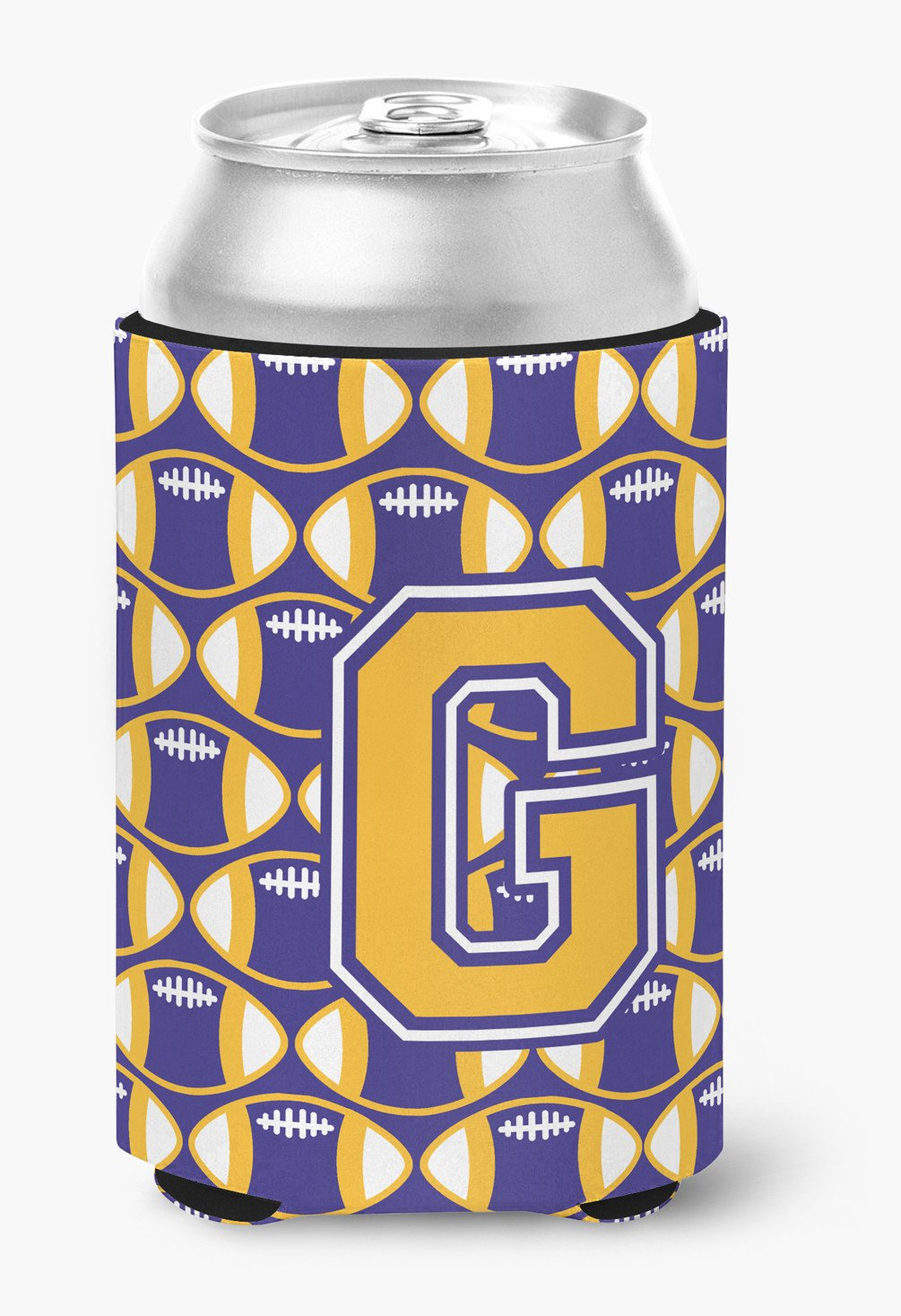 Letter G Football Purple and Gold Can or Bottle Hugger CJ1064-GCC by Caroline's Treasures