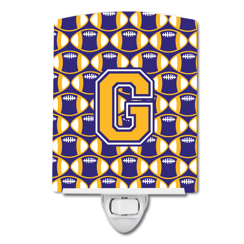 Letter G Football Purple and Gold Ceramic Night Light CJ1064-GCNL by Caroline's Treasures