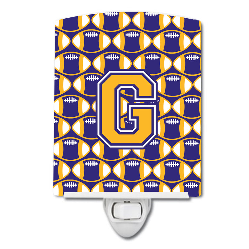 Buy this Letter G Football Purple and Gold Ceramic Night Light CJ1064-GCNL