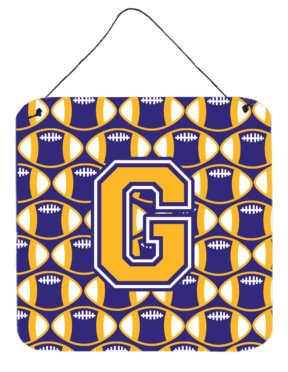 Letter G Football Purple and Gold Wall or Door Hanging Prints CJ1064-GDS66 by Caroline's Treasures