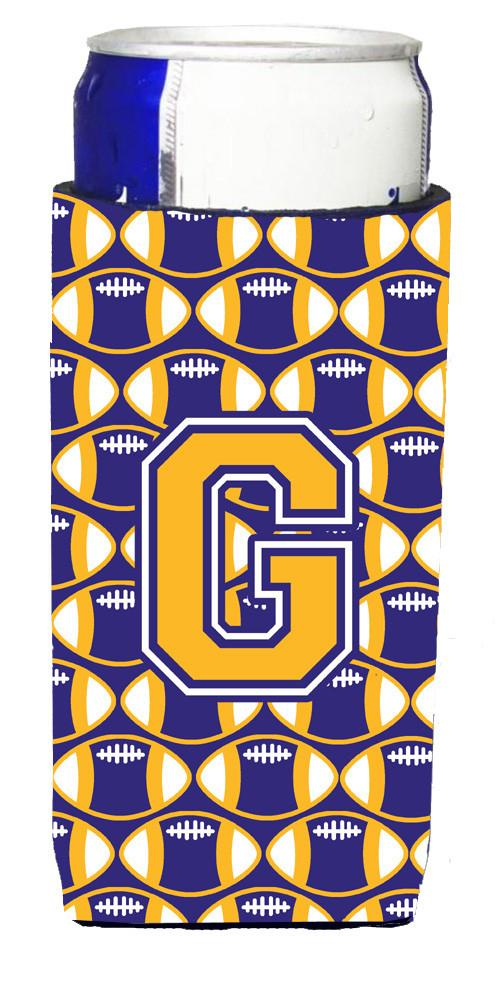 Letter G Football Purple and Gold Ultra Beverage Insulators for slim cans CJ1064-GMUK by Caroline's Treasures