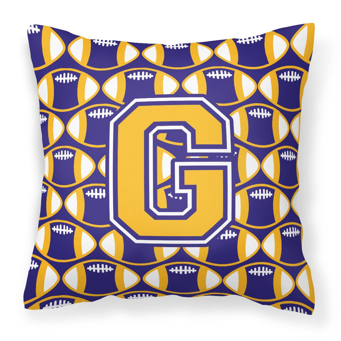 Letter G Football Purple and Gold Fabric Decorative Pillow CJ1064-GPW1414 by Caroline's Treasures