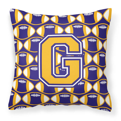 Buy this Letter G Football Purple and Gold Fabric Decorative Pillow CJ1064-GPW1414