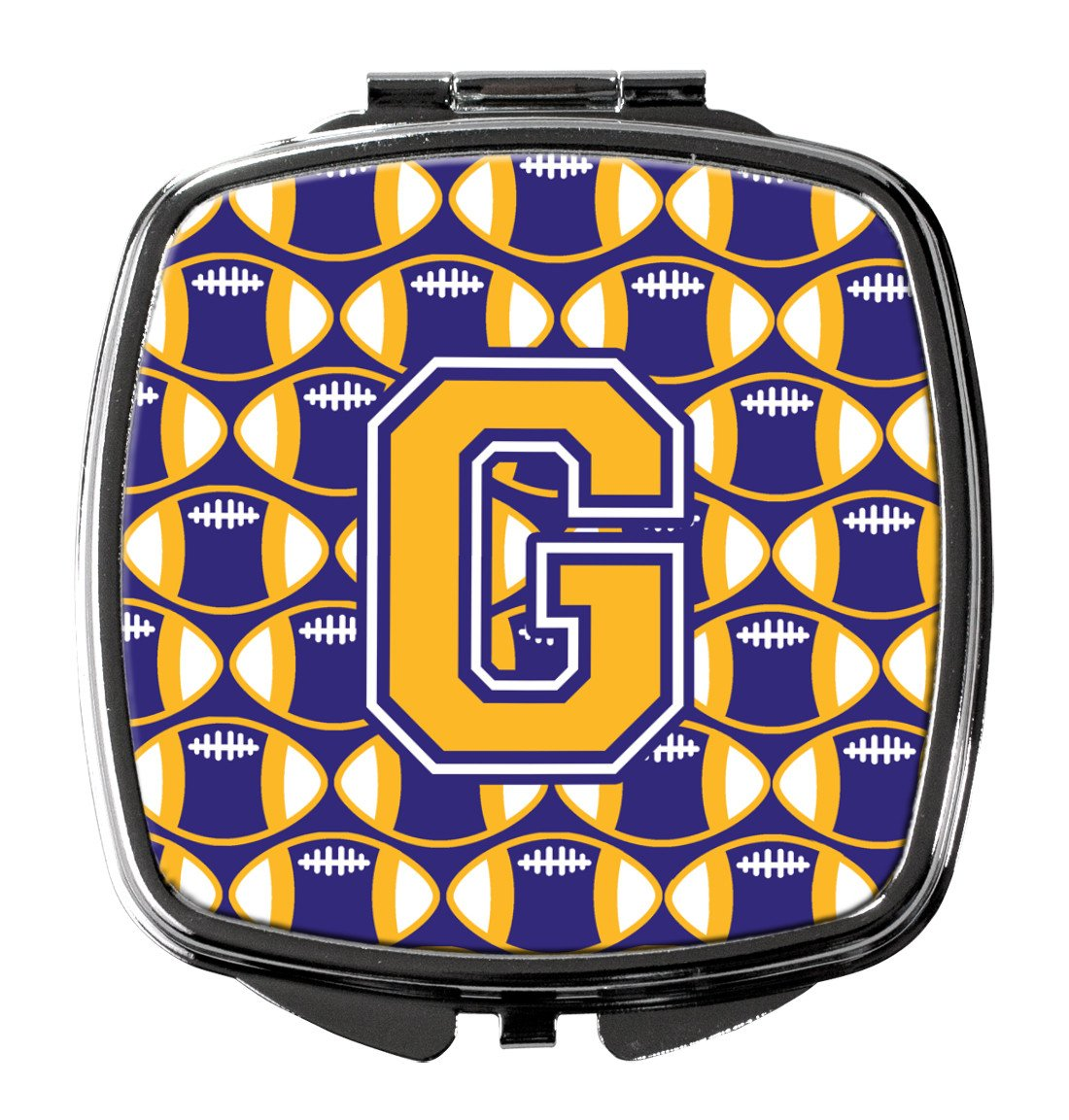 Letter G Football Purple and Gold Compact Mirror CJ1064-GSCM by Caroline's Treasures