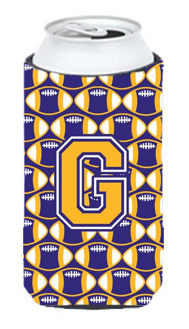 Letter G Football Purple and Gold Tall Boy Beverage Insulator Hugger CJ1064-GTBC by Caroline's Treasures