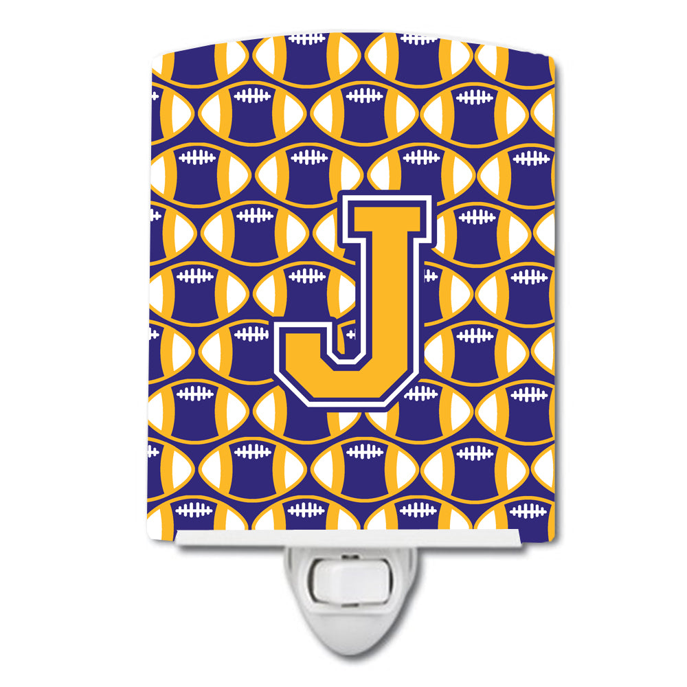 Letter J Football Purple and Gold Ceramic Night Light CJ1064-JCNL by Caroline's Treasures