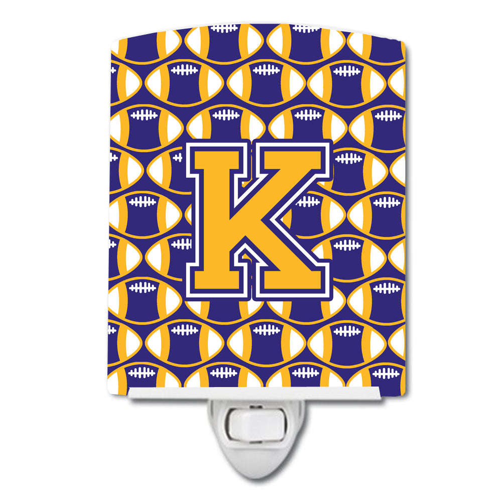 Buy this Letter K Football Purple and Gold Ceramic Night Light CJ1064-KCNL