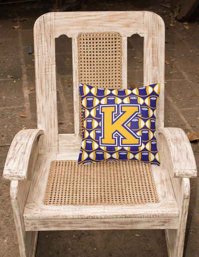 Letter K Football Purple and Gold Fabric Decorative Pillow CJ1064-KPW1414