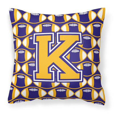 Buy this Letter K Football Purple and Gold Fabric Decorative Pillow CJ1064-KPW1414