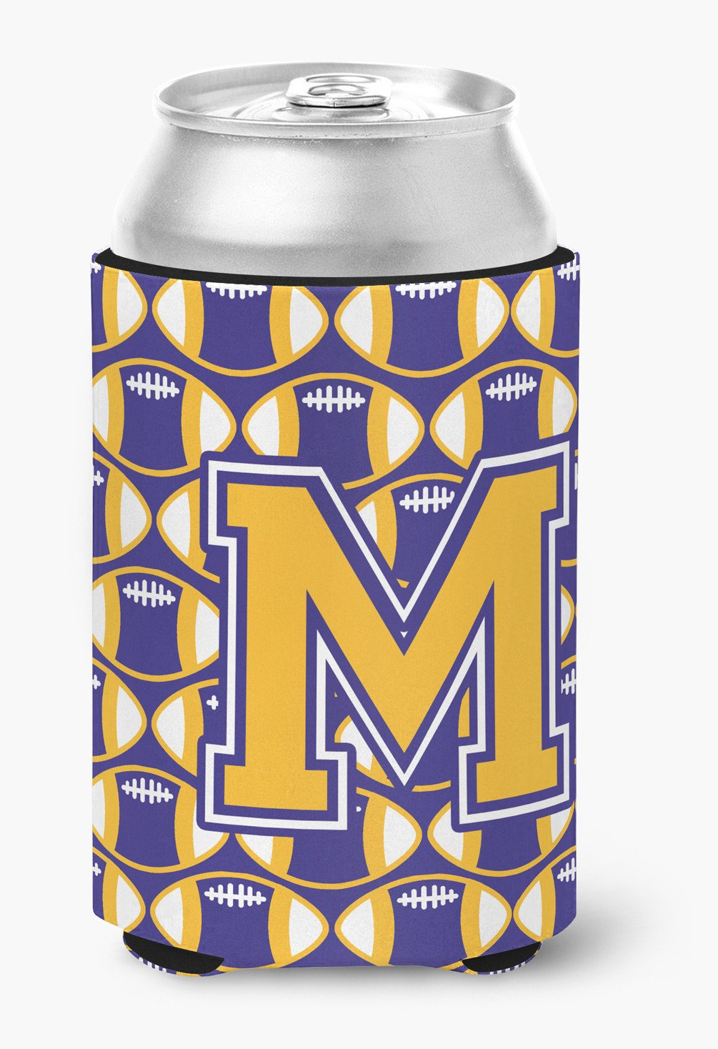 Letter M Football Purple and Gold Can or Bottle Hugger CJ1064-MCC by Caroline's Treasures