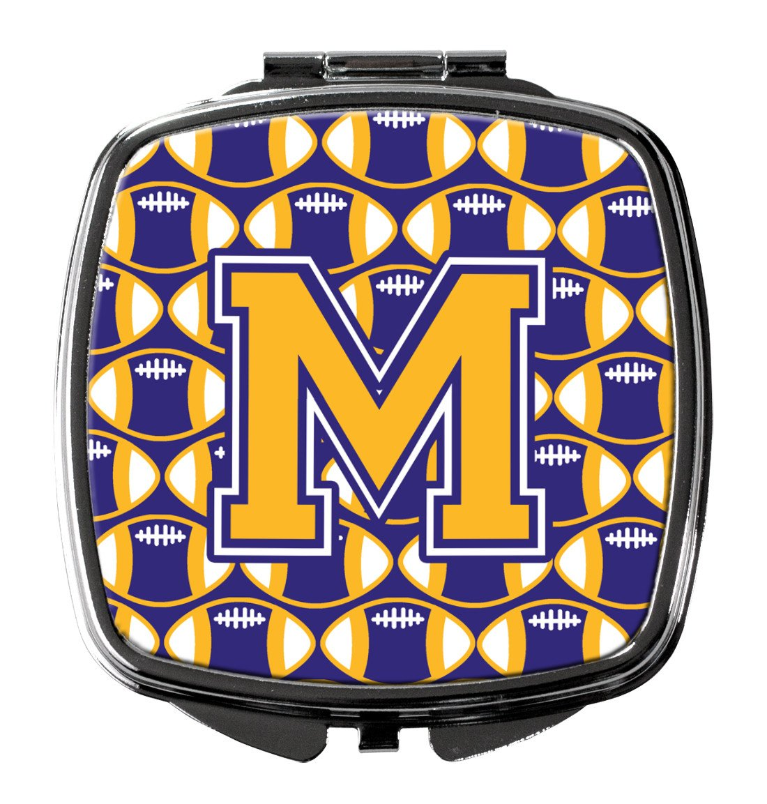 Letter M Football Purple and Gold Compact Mirror CJ1064-MSCM by Caroline's Treasures