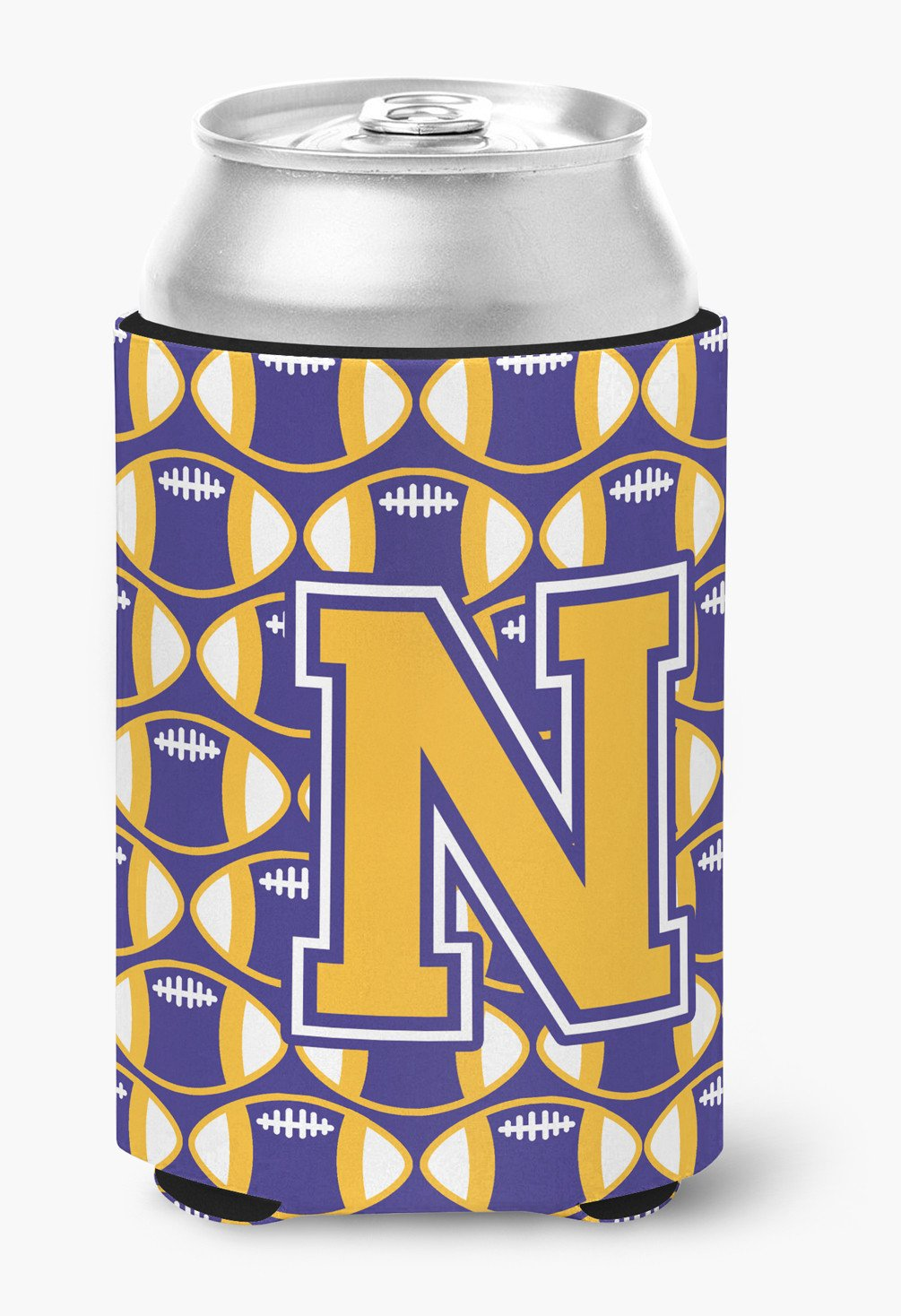 Buy this Letter N Football Purple and Gold Can or Bottle Hugger CJ1064-NCC
