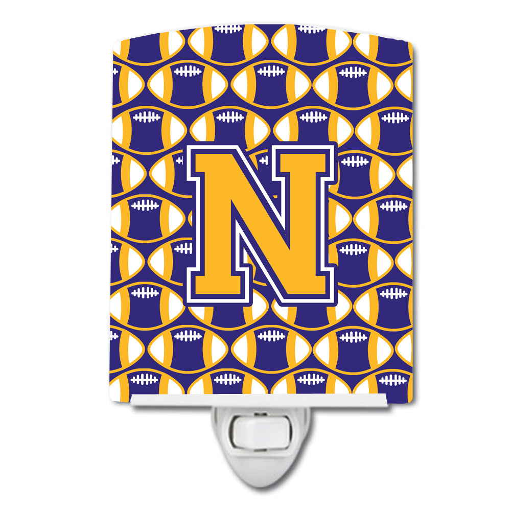 Buy this Letter N Football Purple and Gold Ceramic Night Light CJ1064-NCNL