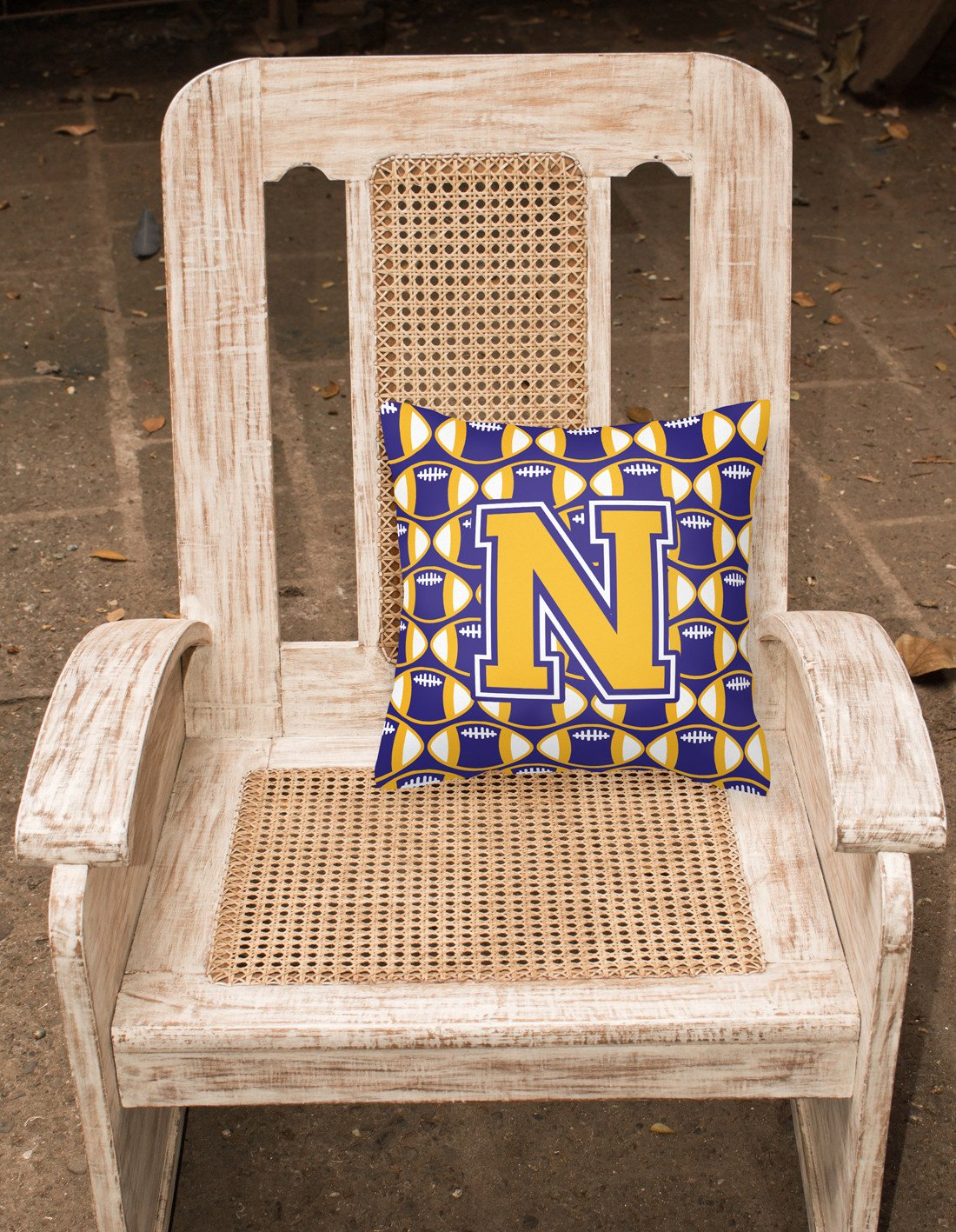 Letter N Football Purple and Gold Fabric Decorative Pillow CJ1064-NPW1414 by Caroline's Treasures