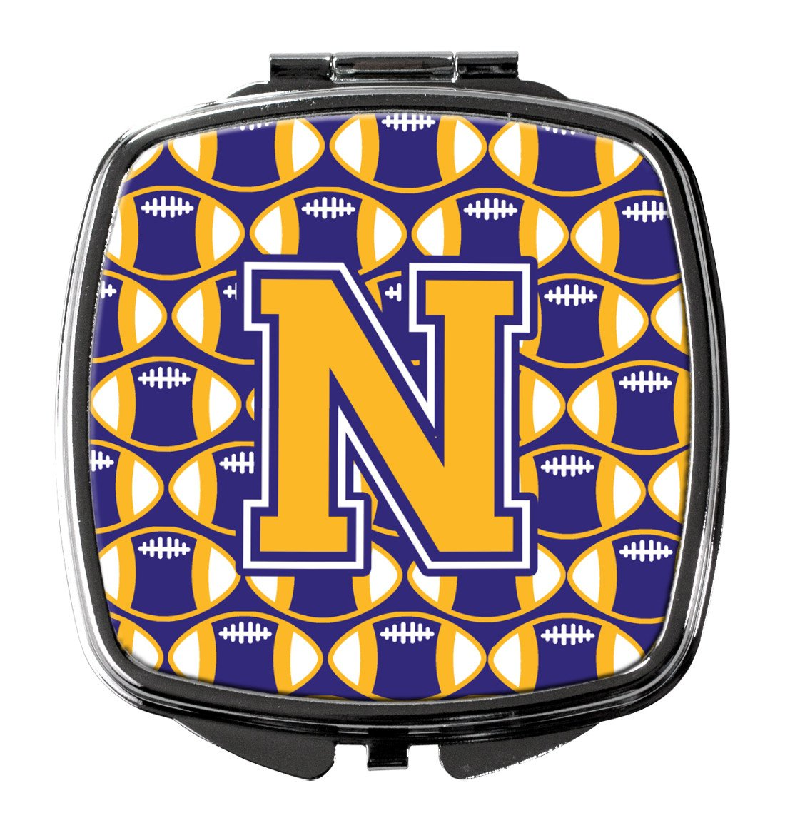 Letter N Football Purple and Gold Compact Mirror CJ1064-NSCM by Caroline's Treasures