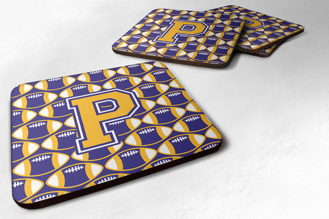 Buy this Letter P Football Purple and Gold Foam Coaster Set of 4 CJ1064-PFC
