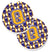 Letter Q Football Purple and Gold Set of 2 Cup Holder Car Coasters CJ1064-QCARC by Caroline's Treasures