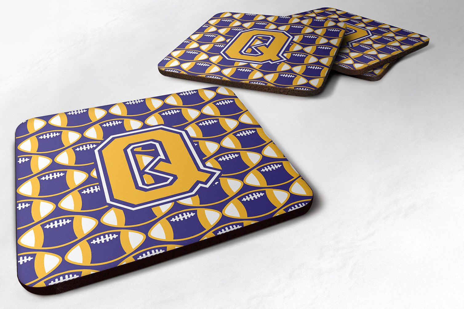 Buy this Set of 4 Letter Q Football Purple and Gold Foam Coasters Set of 4 CJ1064-QFC