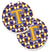 Buy this Letter T Football Purple and Gold Set of 2 Cup Holder Car Coasters CJ1064-TCARC