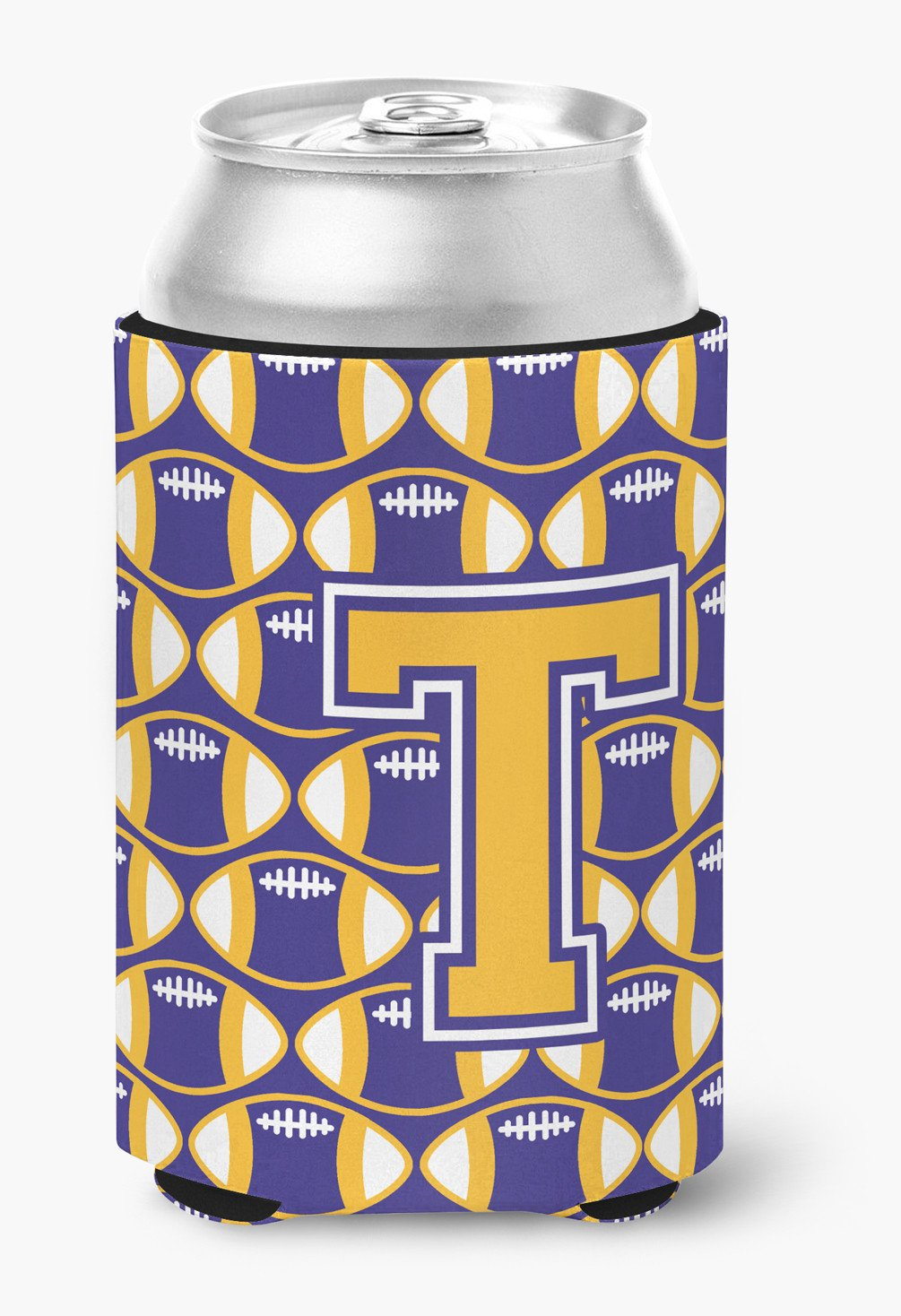 Buy this Letter T Football Purple and Gold Can or Bottle Hugger CJ1064-TCC