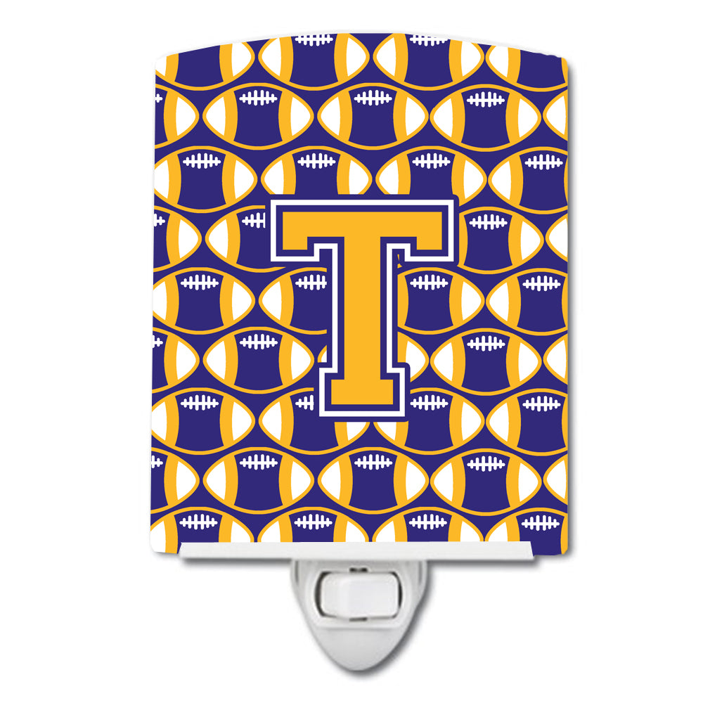 Buy this Letter T Football Purple and Gold Ceramic Night Light CJ1064-TCNL