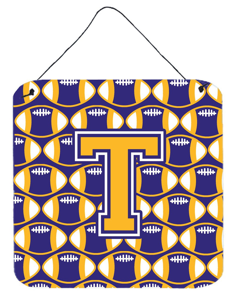 Buy this Letter T Football Purple and Gold Wall or Door Hanging Prints CJ1064-TDS66