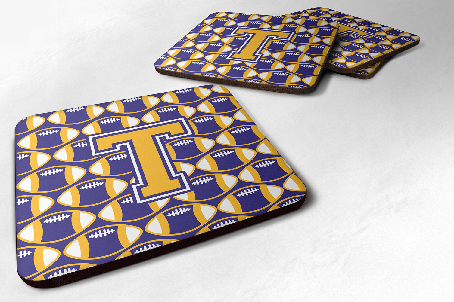 Buy this Letter T Football Purple and Gold Foam Coaster Set of 4 CJ1064-TFC