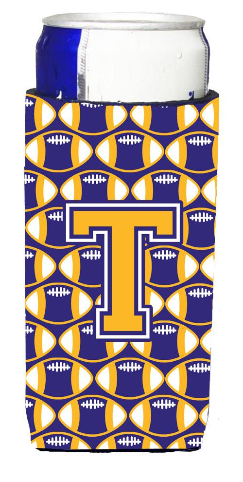 Buy this Letter T Football Purple and Gold Ultra Beverage Insulators for slim cans CJ1064-TMUK