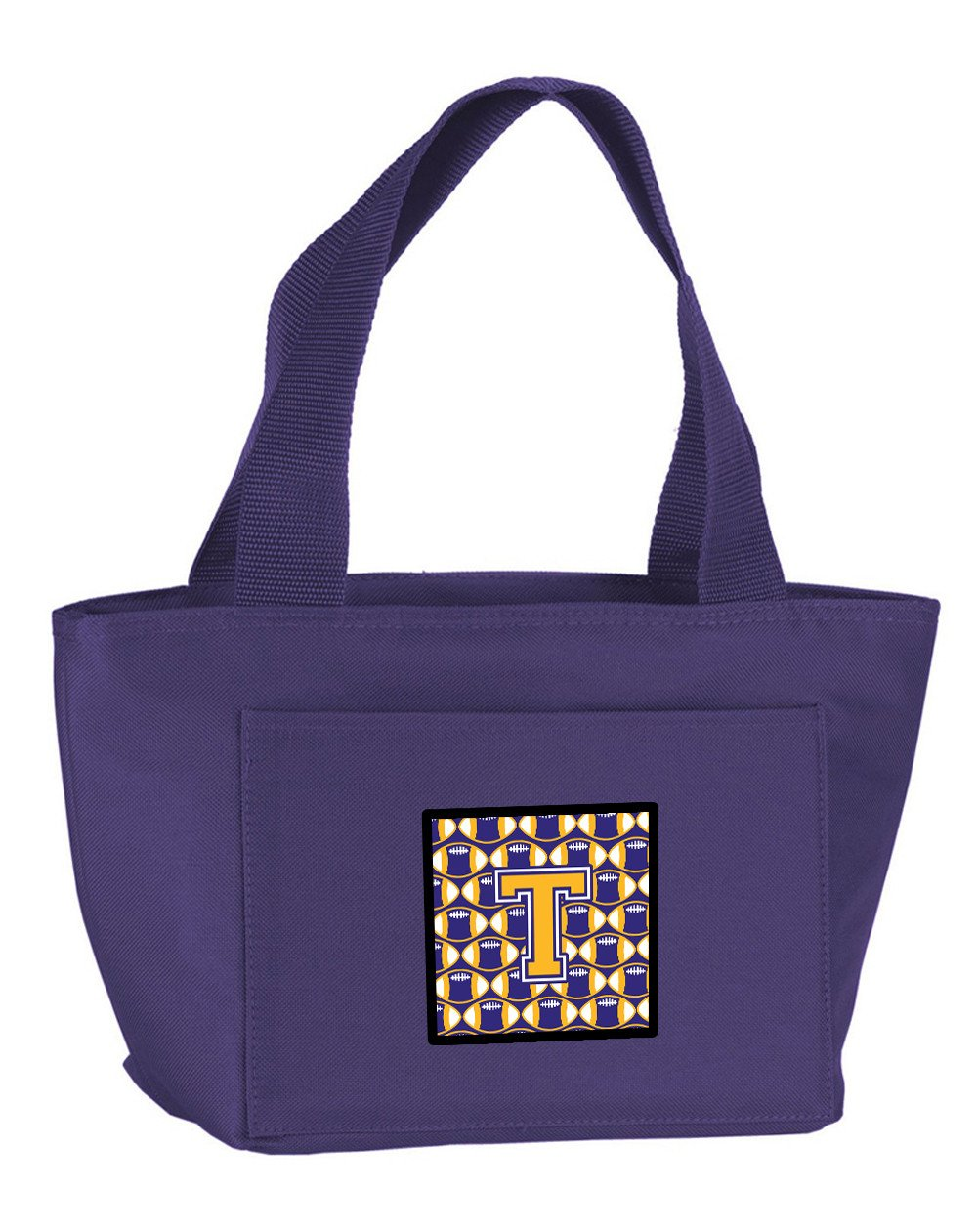Buy this Letter T Football Purple and Gold Lunch Bag CJ1064-TPR-8808
