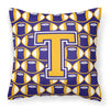 Letter T Football Purple and Gold Fabric Decorative Pillow CJ1064-TPW1414 by Caroline's Treasures