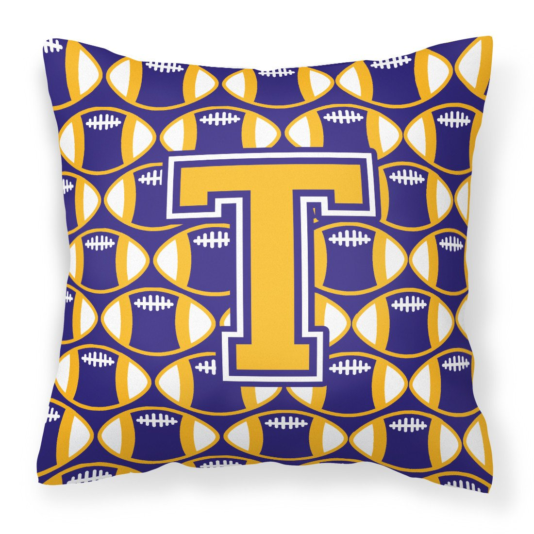 Buy this Letter T Football Purple and Gold Fabric Decorative Pillow CJ1064-TPW1414