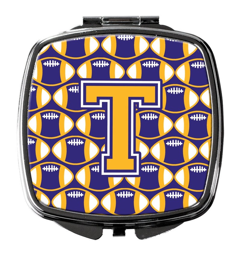 Buy this Letter T Football Purple and Gold Compact Mirror CJ1064-TSCM