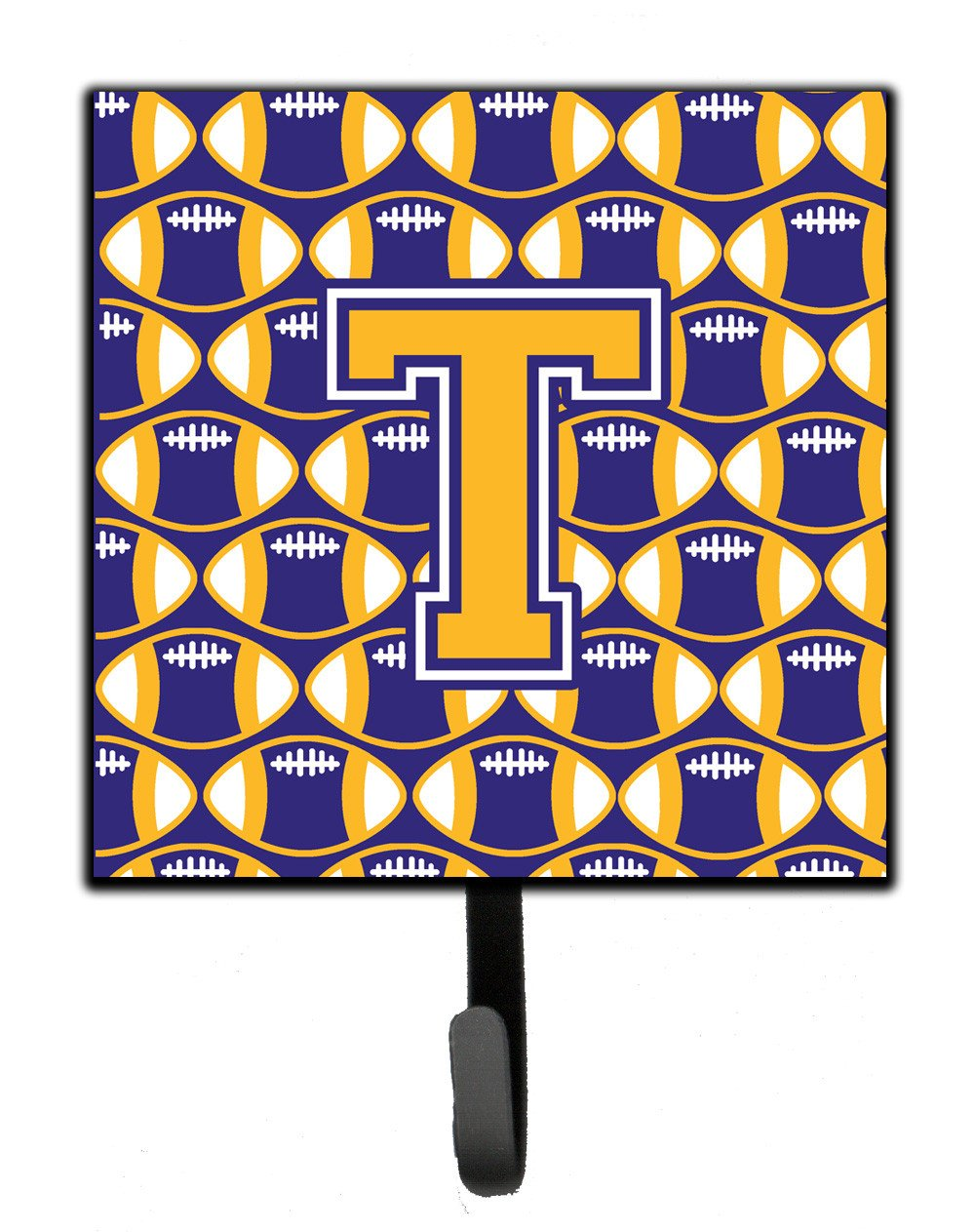 Buy this Letter T Football Purple and Gold Leash or Key Holder CJ1064-TSH4