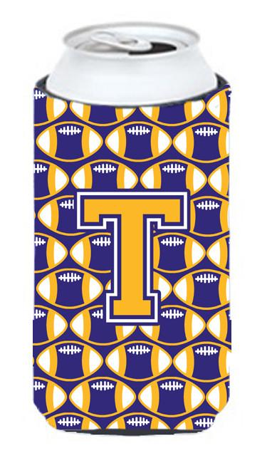 Buy this Letter T Football Purple and Gold Tall Boy Beverage Insulator Hugger CJ1064-TTBC
