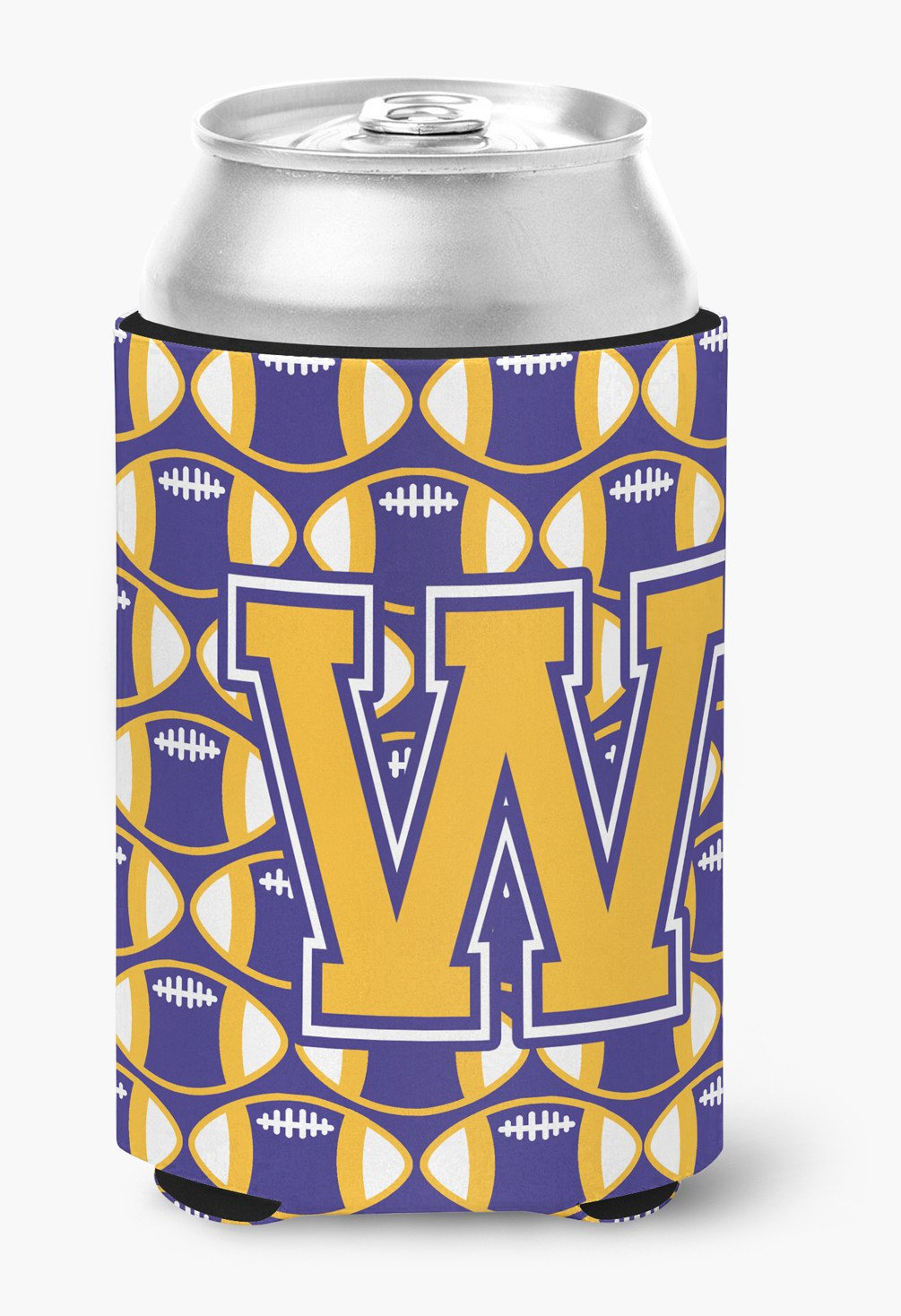 Buy this Letter W Football Purple and Gold Can or Bottle Hugger CJ1064-WCC