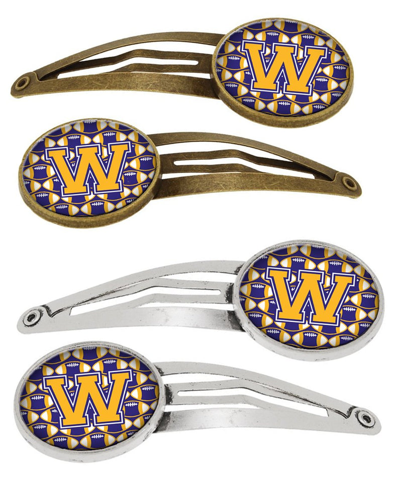 Buy this Letter W Football Purple and Gold Set of 4 Barrettes Hair Clips CJ1064-WHCS4