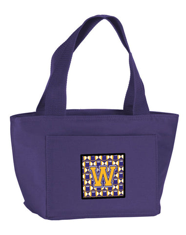 Buy this Letter W Football Purple and Gold Lunch Bag CJ1064-WPR-8808