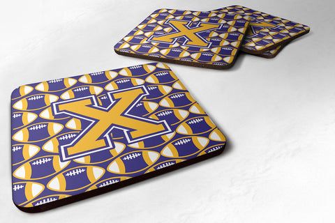 Buy this Letter X Football Purple and Gold Foam Coaster Set of 4 CJ1064-XFC