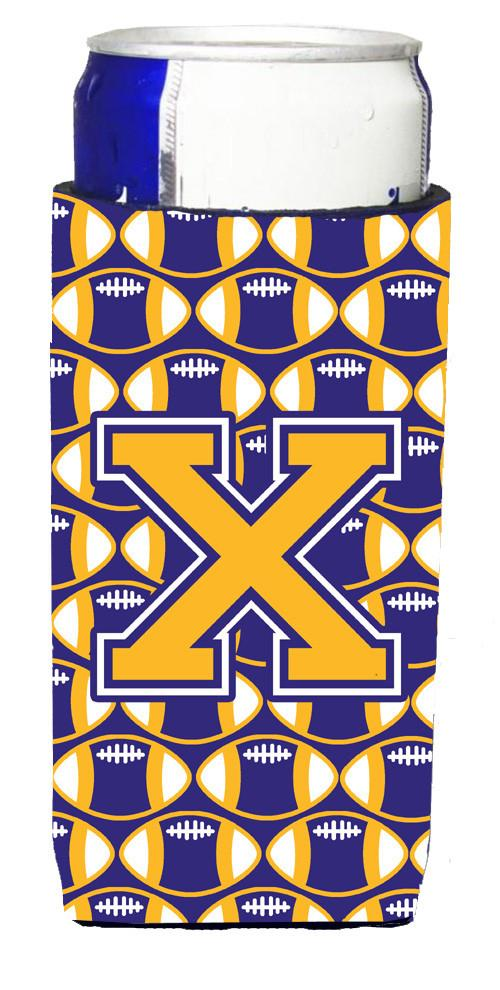 Letter X Football Purple and Gold Ultra Beverage Insulators for slim cans CJ1064-XMUK by Caroline's Treasures