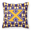 Letter X Football Purple and Gold Fabric Decorative Pillow CJ1064-XPW1414 by Caroline's Treasures