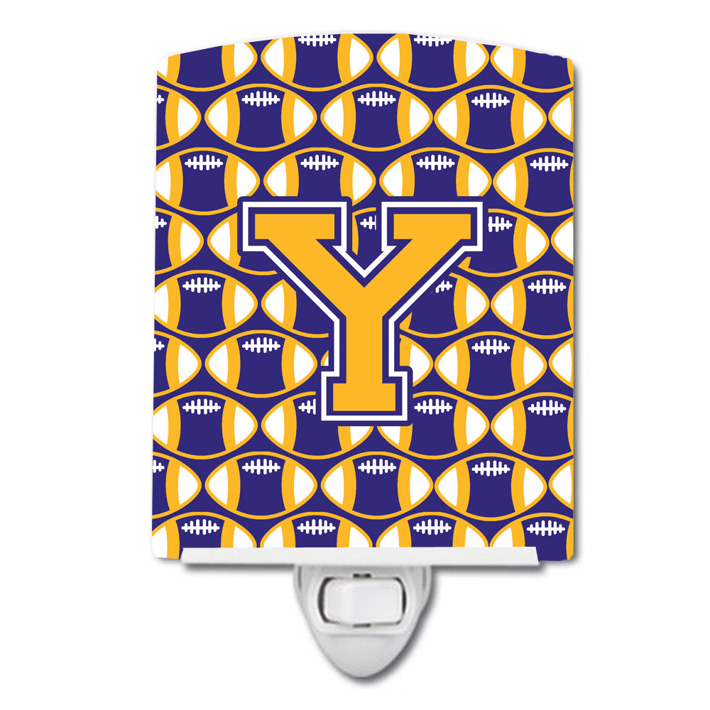 Buy this Letter Y Football Purple and Gold Ceramic Night Light CJ1064-YCNL