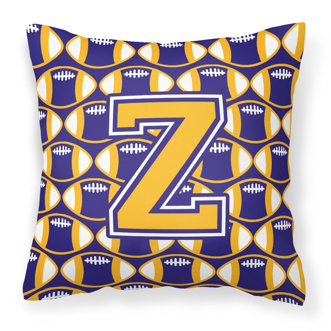 Letter Z Football Purple and Gold Fabric Decorative Pillow CJ1064-ZPW1414 by Caroline's Treasures