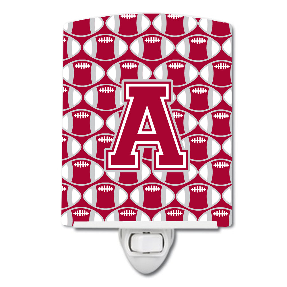 Buy this Letter A Football Crimson, grey and white Ceramic Night Light CJ1065-ACNL