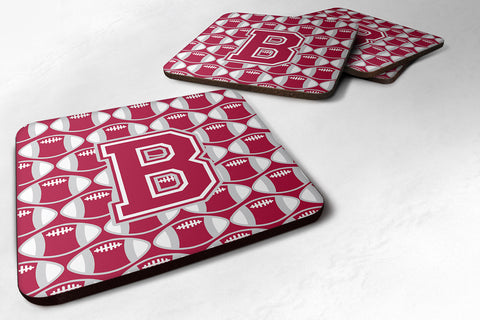 Buy this Letter B Football Crimson, grey and white Foam Coaster Set of 4 CJ1065-BFC
