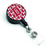 Letter D Football Crimson, grey and white Retractable Badge Reel CJ1065-DBR by Caroline's Treasures