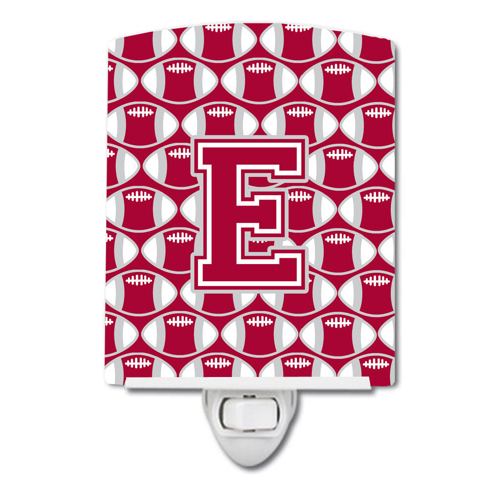 Buy this Letter E Football Crimson, grey and white Ceramic Night Light CJ1065-ECNL