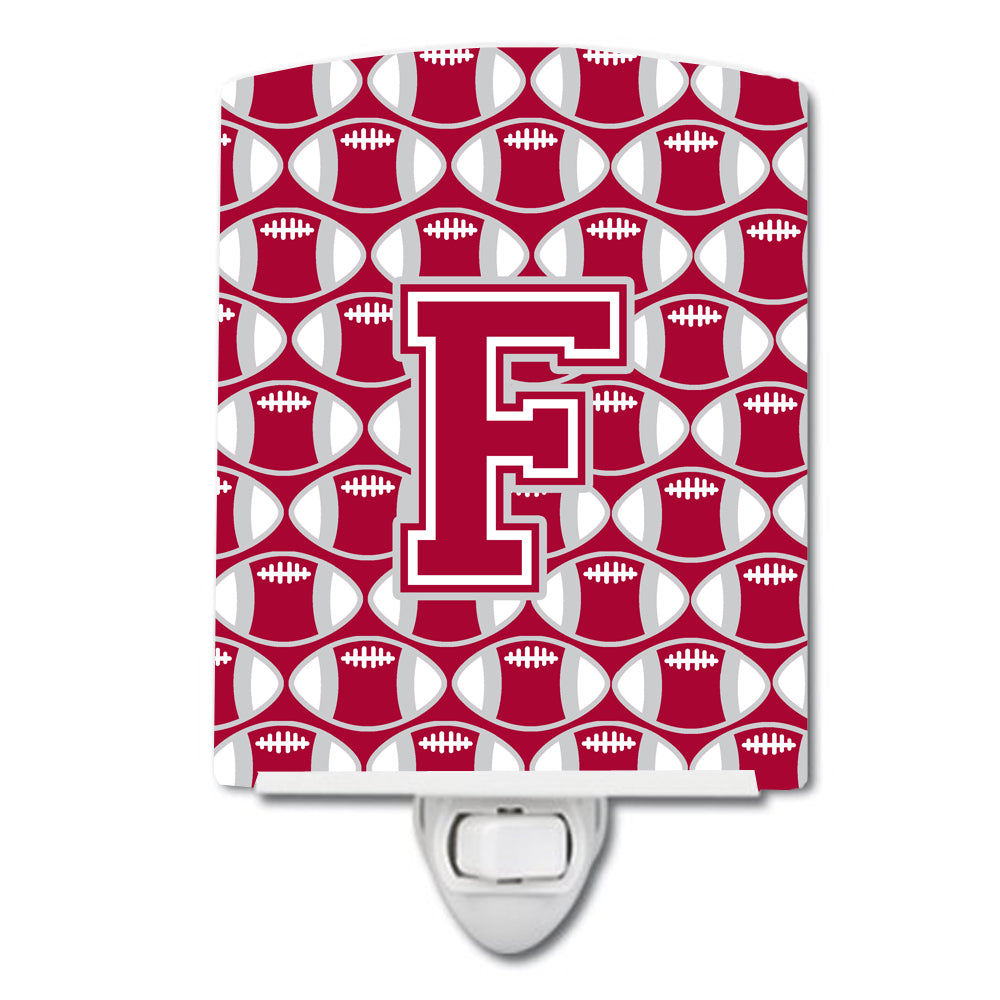 Buy this Letter F Football Crimson, grey and white Ceramic Night Light CJ1065-FCNL