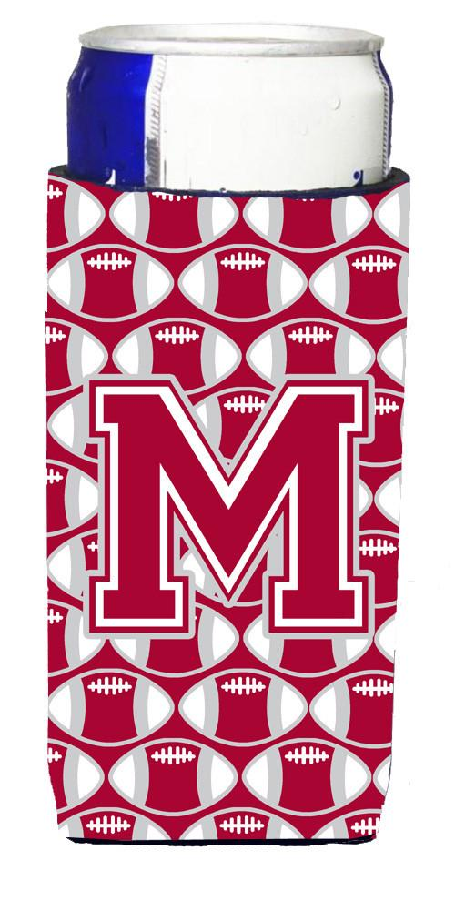 Letter M Football Crimson, grey and white Ultra Beverage Insulators for slim cans CJ1065-MMUK by Caroline's Treasures
