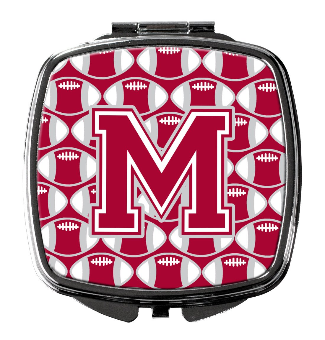 Letter M Football Crimson, grey and white Compact Mirror CJ1065-MSCM by Caroline's Treasures